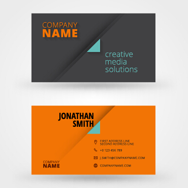 Orange with black business card vector free download