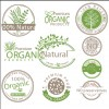 Organic product labels vector set