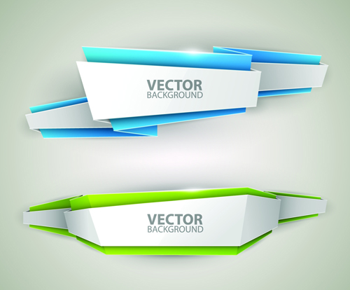 Origami colored banner graphics vector 02