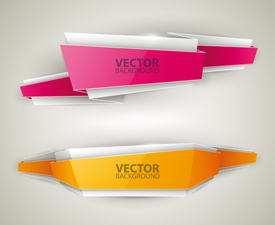 Origami colored banner graphics vector 04