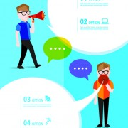 People with speech bubbles business template vector 03