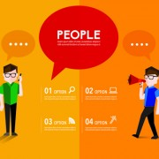 People with speech bubbles business template vector 04