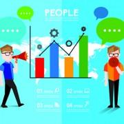 People with speech bubbles business template vector 05