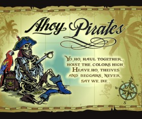 Pirates adventures Maps vector material 02