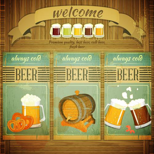 Pub beer menu retro style vector 01