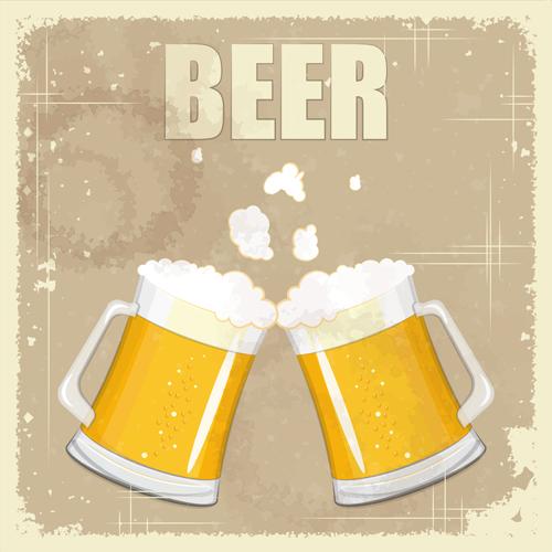 Pub beer menu retro style vector 02