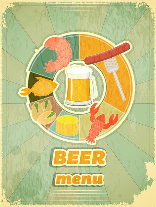 Pub beer menu retro style vector 03