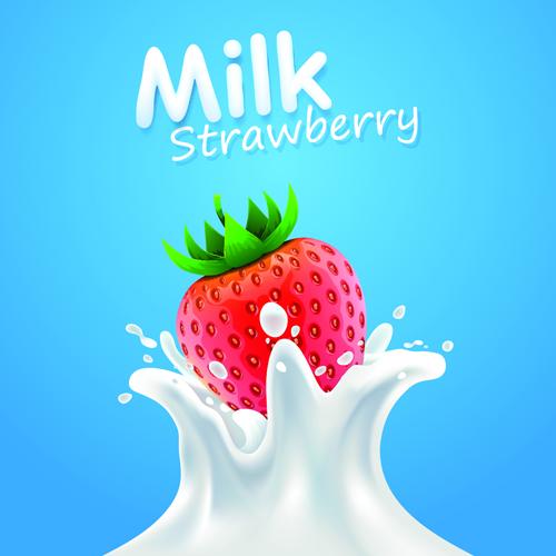 quality milk advertising poster splashes style vector 05