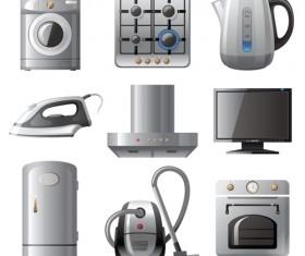 Realistic household appliances vector illustration 01