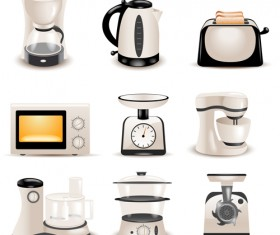 Realistic household appliances vector illustration 02