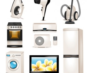 Realistic household appliances vector illustration 03