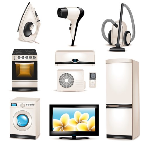 Realistic Household Appliances Vector Illustration 03 Free