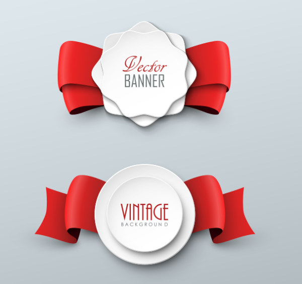 Red Ribbon With White Paper Labels Vector Over Millions