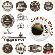 Link toRetro badges label coffee vector set