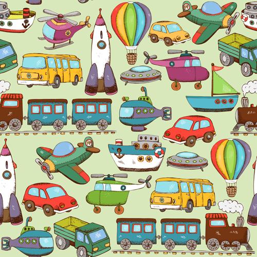 Retro children Toys seamless pattern vector