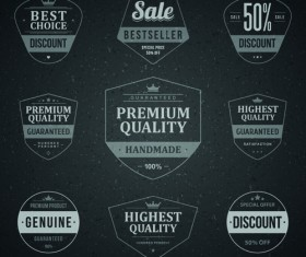 Retro dark sale labels vector material 01