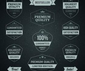 Retro dark sale labels vector material 02