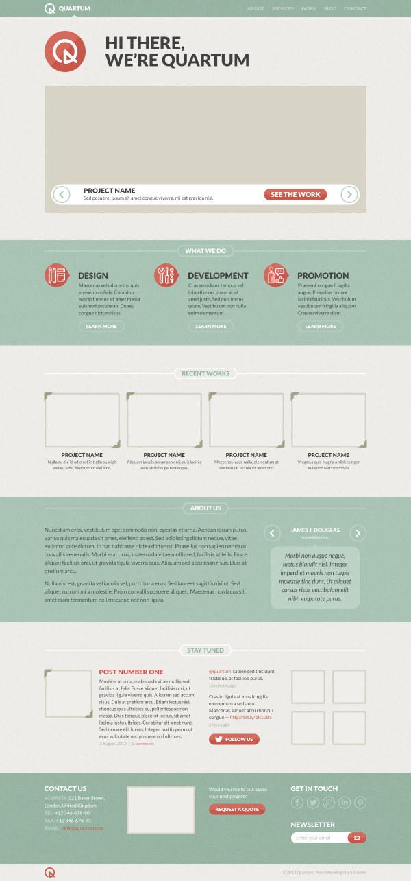 Retro flat style website template pad