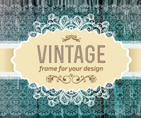 Retro lace with wooden background vector 02