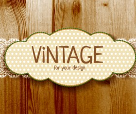 Retro lace with wooden background vector 03