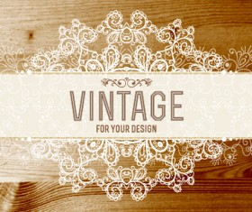 Retro lace with wooden background vector 04