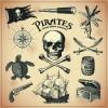 Retro pirates elements vector design