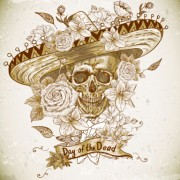 Link toRetro skull with flower vector material 03