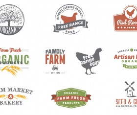 Retro style farm logos design vector