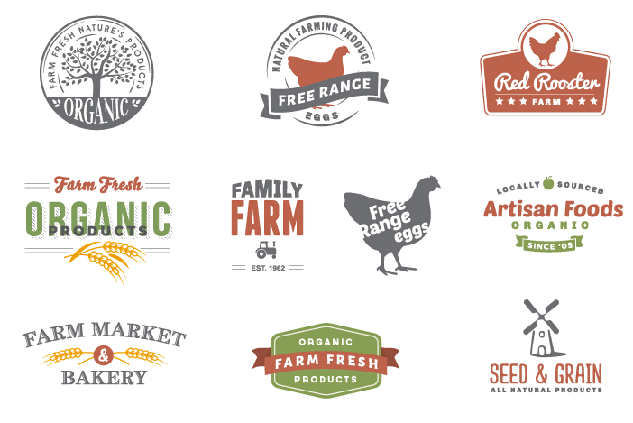 retro style farm logos design vector free download