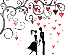 Romantic Love elements with silhouette vector 01
