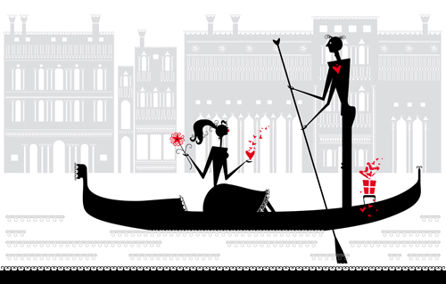 Romantic Love elements with silhouette vector 02