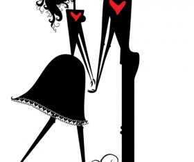 Romantic Love elements with silhouette vector 04