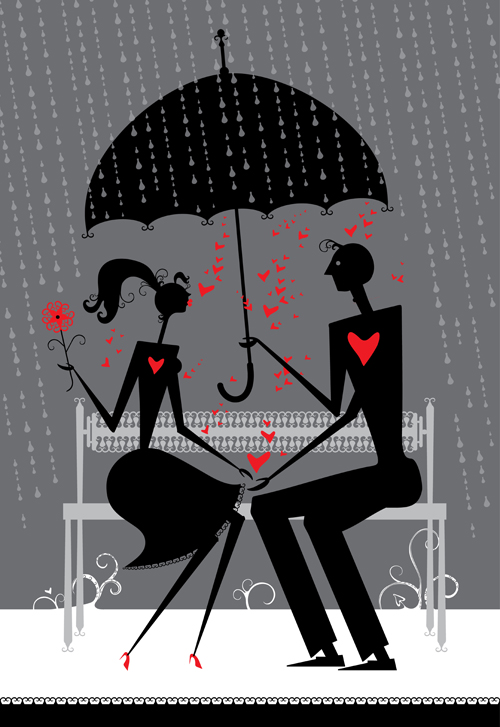 Romantic Love elements with silhouette vector 05