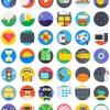 Round cute app icons psd set
