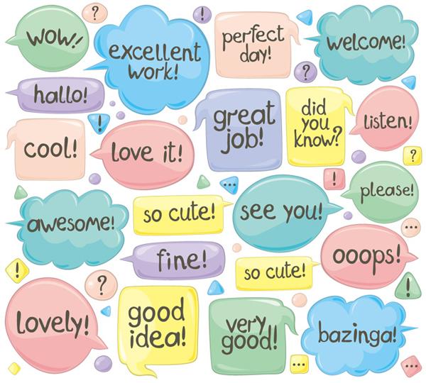 Shiny cartoon speech bubbles vector material 01