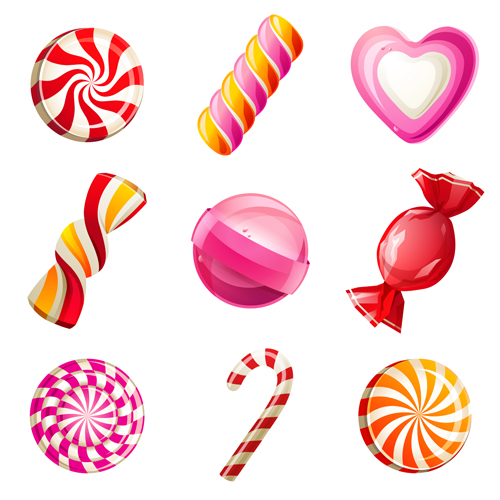 Shiny colored sweet icons vector