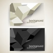 Shiny geometric shapes business cards vector 02
