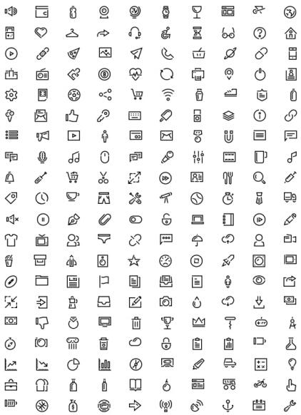 Simple outline mini web icons set
