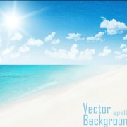 Link toSky clouds with sea and beach vector background