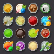 Summer ice drink icons set