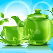 Link toTeacup teapot and green leaves background vector 01