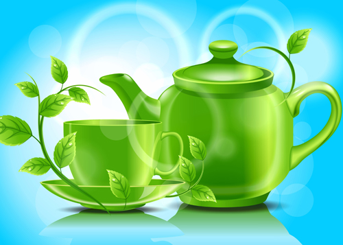 Teacup teapot and green leaves background vector 01