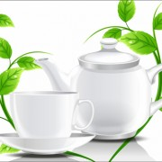 Link toTeacup teapot and green leaves background vector 02