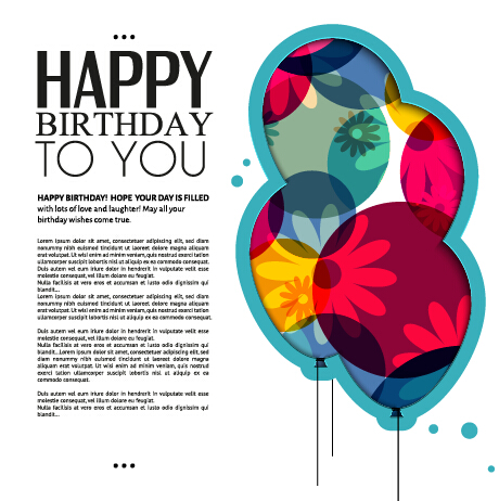 Template birthday greeting card vector material 01 Vector – Free Vector Birthday Cards