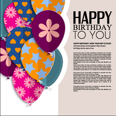 Template Birthday Greeting Card Vector Material 03 - Vector