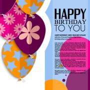 Link toTemplate birthday greeting card vector material 04