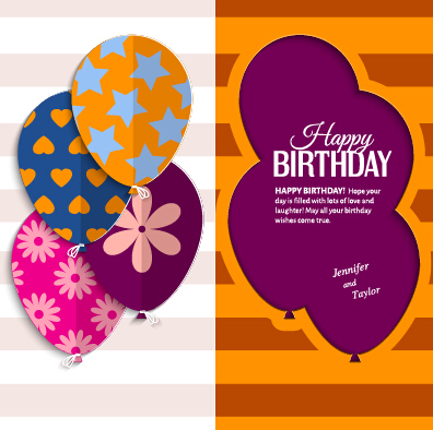Template birthday greeting card vector material 05 - Vector Birthday ...