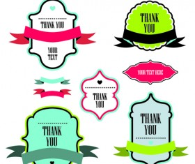 Text frame labels with ribbon vector 01