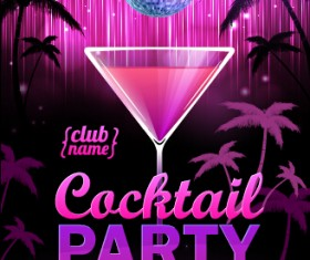 Vector cocktail party poster design graphics set 03