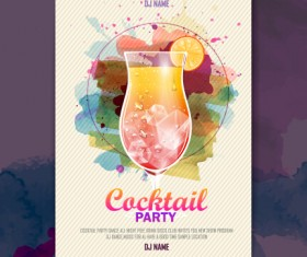 Vector cocktail party poster design graphics set 04